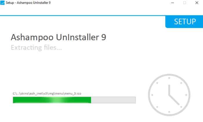 ashampoo uninstaller 9 installer running