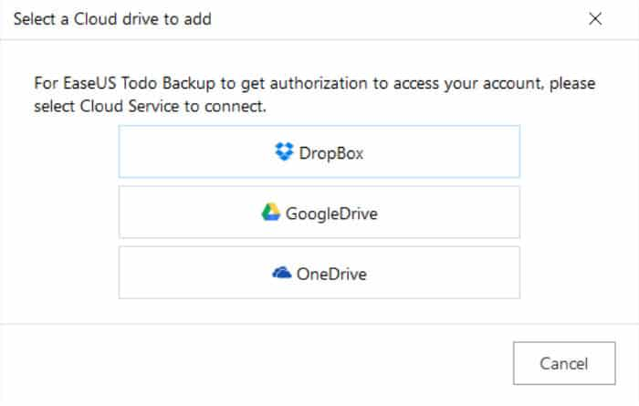 easeus todo backup cloud storage accounts