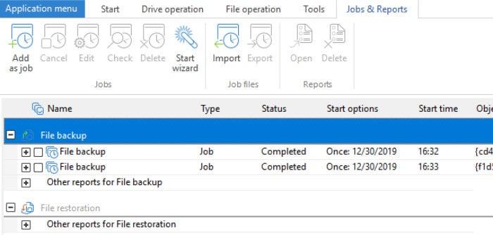 o&o diskimage 15 jobs screen
