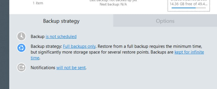 backup and recovery configuring backup options