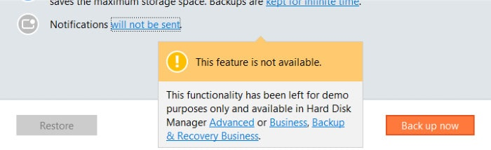 backup and recovery notifications disabled