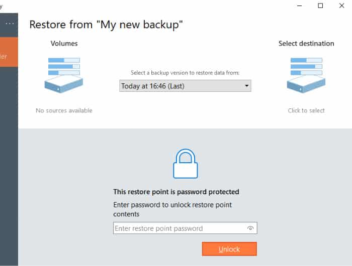 backup and recovery restore version and password