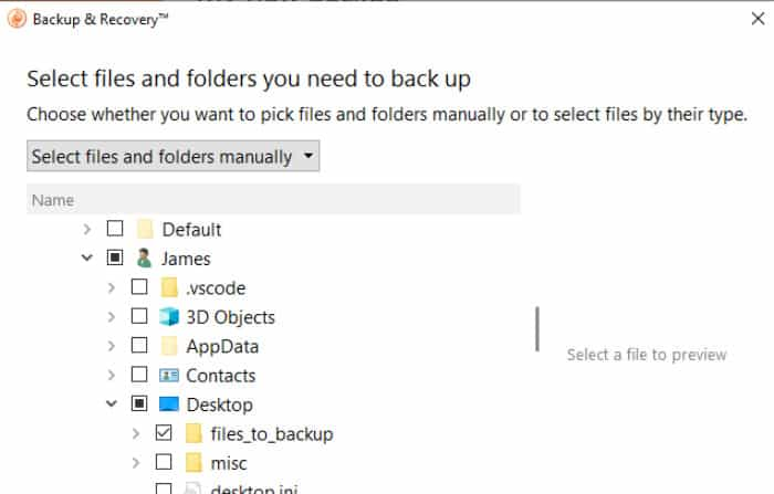 backup and recovery selecting files for backup