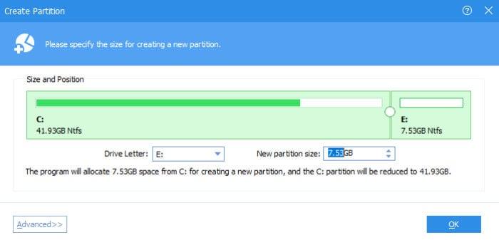 aomei partition assistant create partition