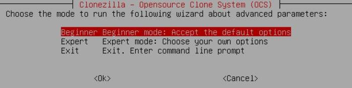 clonezilla choose difficulty mode