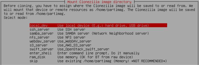 clonezilla choose storage location