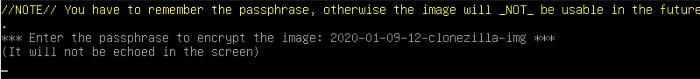 clonezilla restore and enter password