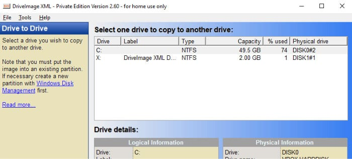 driveimage xml disk to disk clone screen