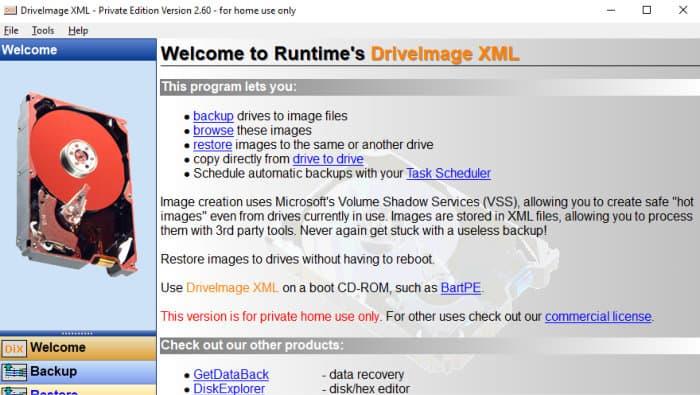 driveimage xml welcome screen