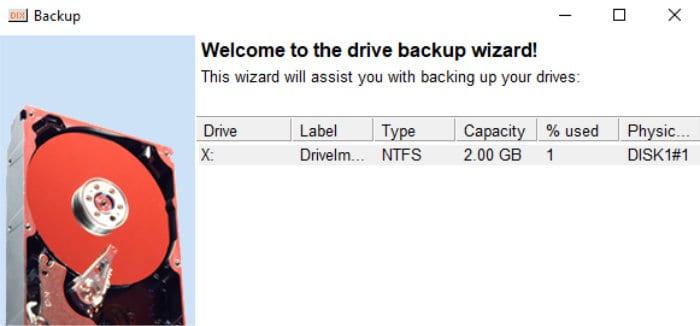 driveimage image backup wizard