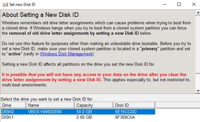 driveimage xml reset disk id