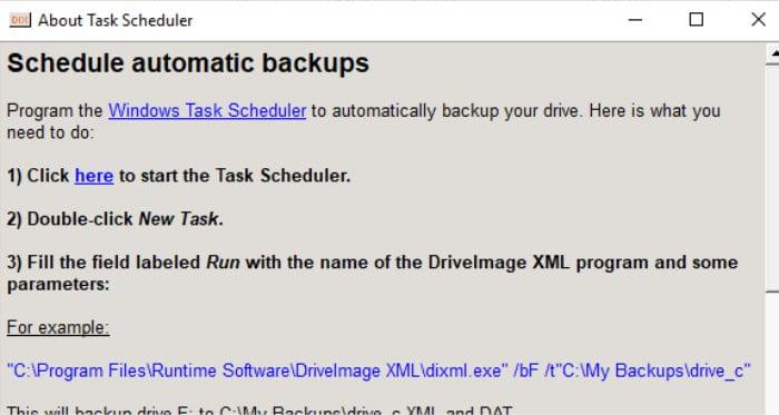 driveimage xml scheduling screen