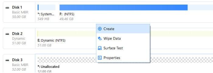 easeus partition master disk context menu