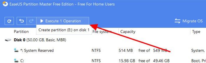 easeus partition master execute operation