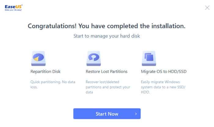 easeus partition master installer running