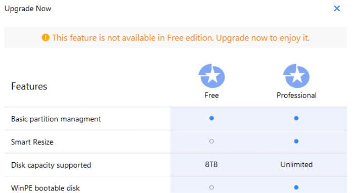 easeus partition manager only in pro screen