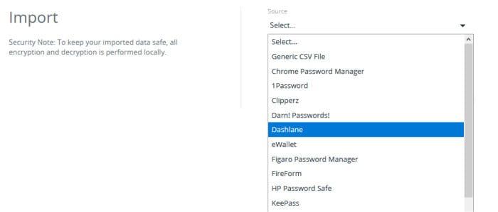 lastpass password import options