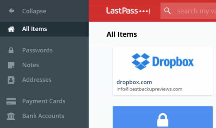 lastpass review types of data stored