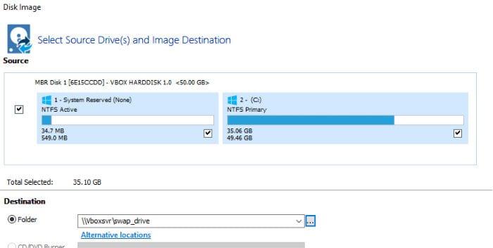macrium reflect image backup configuration