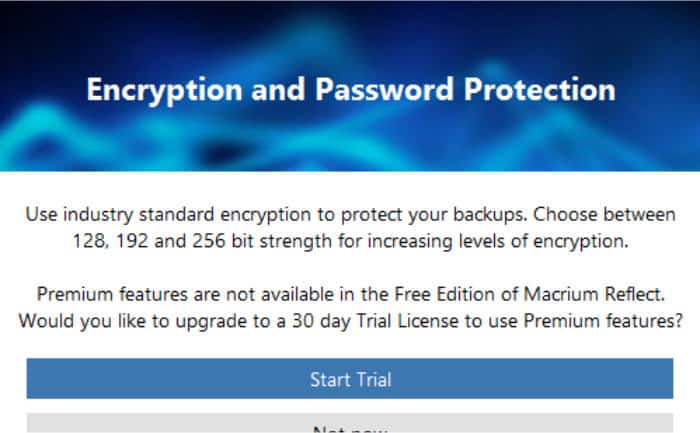 macrium reflect 7 passwords only in pro