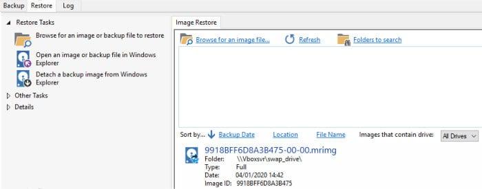 macrium reflect 7 restore tab