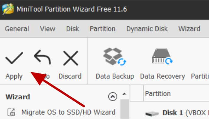 minitool partition wizard click apply