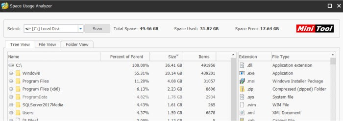 minitool partition wizard disk usage analyser