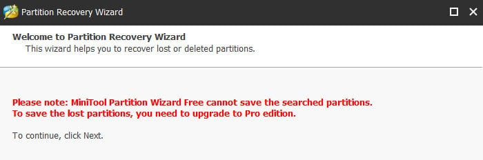 minitool partition wizard upgrade to pro message