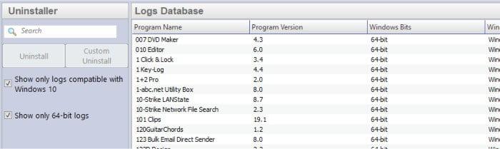 revo uninstaller pro logs database
