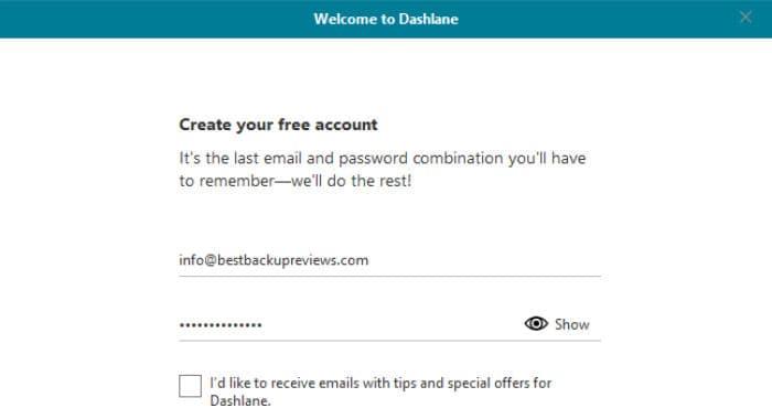 dashlane password manager create free account