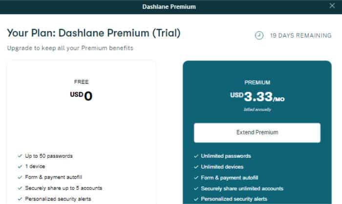 dashlane free vs premium