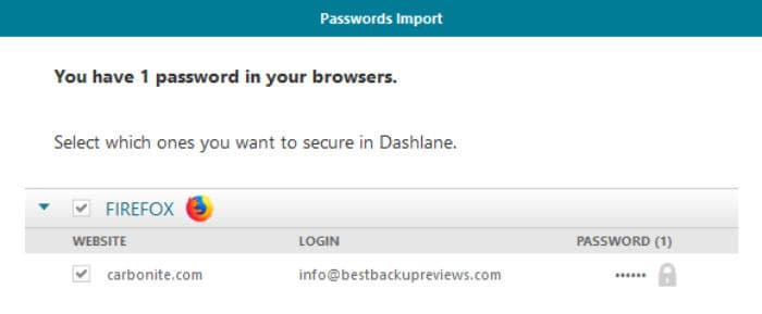 dashlane import passwords from firefox