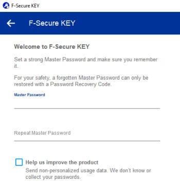 f-secure key create new password vault