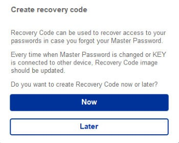 f-secure key create recovery code