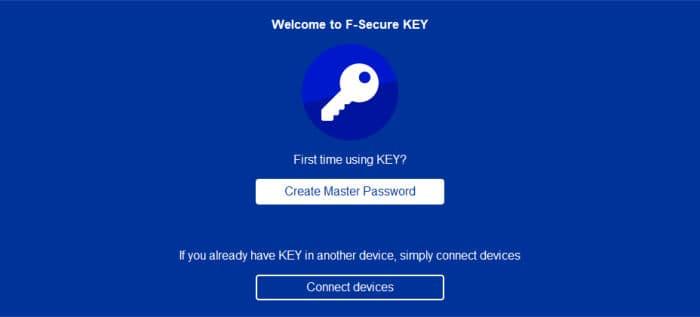 f-secure key welcome screen