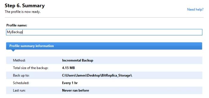bitreplica backup set summary