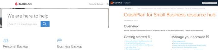 backblaze vs crashplan comparing support pages