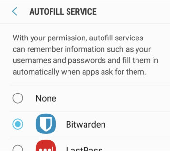bitwarden android app autofill service
