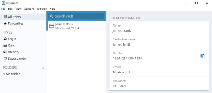 bitwarden payment card data type
