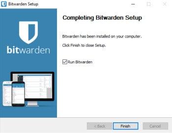 bitwarden installer complete