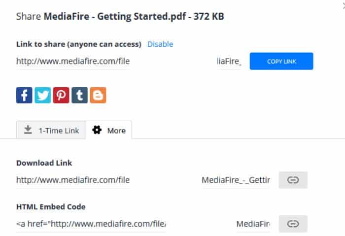 mediafire create shared link