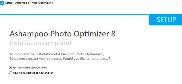 ashampoo photo optimizer 8 restart required