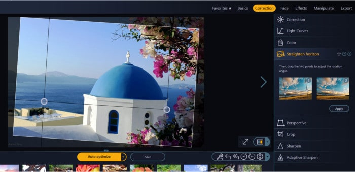 photo optimizer 8 straighten horizon tool