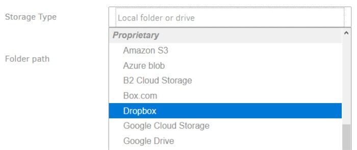 duplicati available cloud providers - selecting dropbox