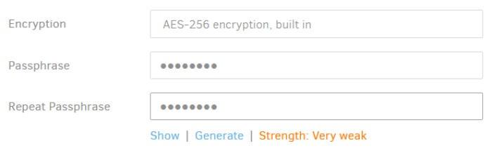 duplicati backup encryption being set