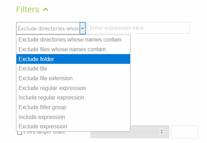 duplicati exclude and filter files from backup