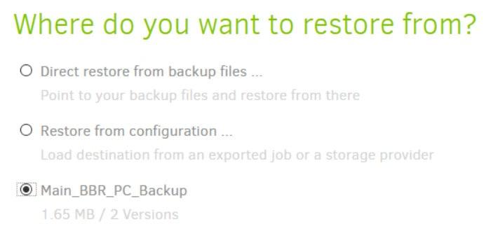duplicati backup initial restore screen