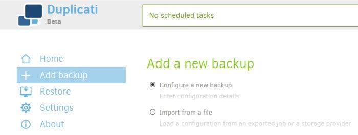 duplicati backup review create new backup set