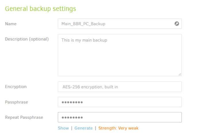 duplicati name backup set and set password