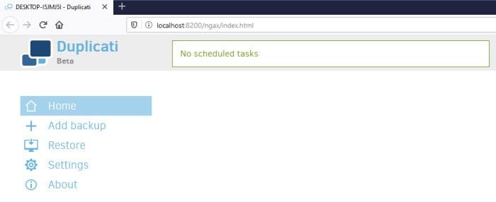 duplicati backup review web interface welcome screen